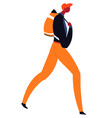 traveler with back on shoulders walking vector image