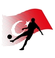 turkey soccer player against national flag vector image vector image