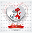 valentine background with cute cats in love vector image