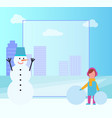 winter poster filling form on vector image