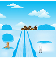 Winter road to settle vector image vector image