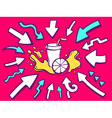 arrows point to icon of fresh fruit juice vector image