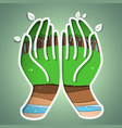 green earth in hand vector image