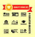 education concept icon set with red tape vector image