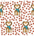 A pair of cute giraffes in love with a common vector image vector image