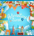 adventure time travel concept with lettering logo vector image vector image
