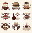 barbecue colorful emblems set vector image vector image