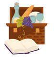basket with food for picnic bread and wine vector image