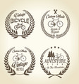bicycle retro laurel wreath background vector image vector image