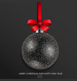 black glass christmas ball vector image vector image