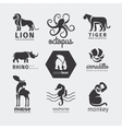 Black silhouette animals logos vector image