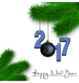 Bowling ball and 2017 on a Christmas tree branch vector image vector image