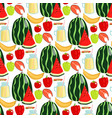 cartoon fresh watermelon fruits picnic food summer vector image