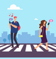 cartoon man falls in love in woman on crosswalk vector image vector image