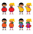 children holding fruit item set vector image vector image