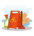 cleaning supplies with caution sign spray gloves vector image