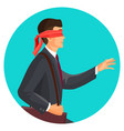 closeup profile of blindfolded man in suit vector image vector image