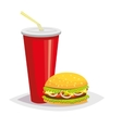 Colorful cartoon fast food icon on white vector image vector image
