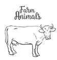 Cow in sketch style farm animals vector image