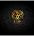 emblem with golden lion vector image vector image