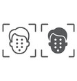 face id line and glyph icon face recognition and vector image vector image