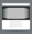 Flat browser window with photo slideshow vector image vector image