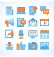 flat icon set blogging symbols vector image vector image
