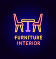 furniture interior neon label vector image