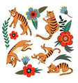 ginger cats and flowers isolated vector image