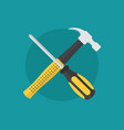 hammer and screw driver as maintenance symbol icon vector image vector image