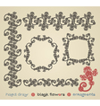 hand draw black flower ornament and frame vector image vector image