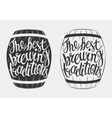 Hand Drawn lettering for with barrel of beer vector image vector image