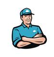 happy man in a cap cartoon vector image