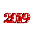 happy new year card red 3d number 2019 vector image vector image