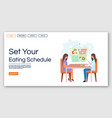 healthy eating schedule landing page template vector image vector image