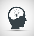 icon human head with a light bulb vector image