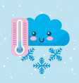 kawaii cloud cold thermometer snowflake winter vector image