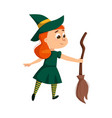 little witch holding broom cute redhead girl vector image vector image