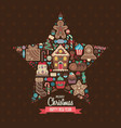 merry christmas greeting card in star shape vector image vector image