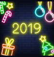 neon 2019 new year background on brick wall vector image vector image