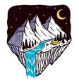 night mountain line vector image