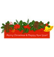 rectangular red sticker with holly berry pine vector image vector image