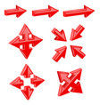 red 3d combo arrows different directions vector image