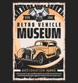 retro vehicles museum vintage car repair service vector image vector image