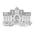 rome city famous landmark trevi fountain travel vector image vector image