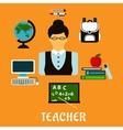 School teacher profession flat concept vector image