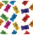 seamless gummy bear candies pattern vector image vector image