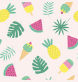 seamless pattern with ice cream fruit vector image