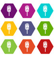 semaphore trafficlight icon set color hexahedron vector image vector image
