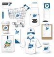 set corporate identity uniform flyer cart vector image